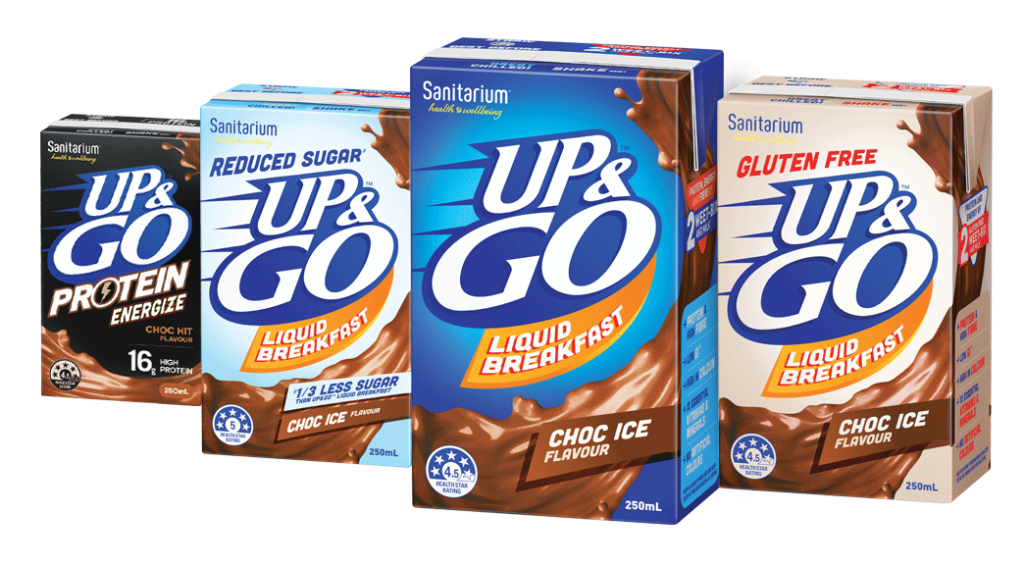 The up and go product range includes original blue, reduced sugar, gluten free and protein energize.